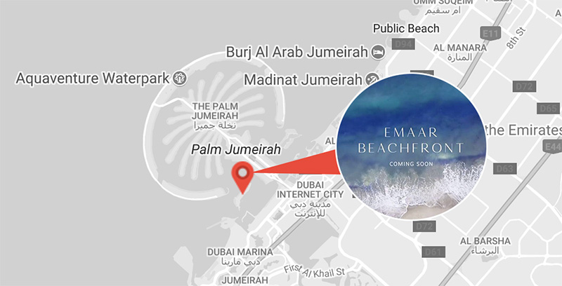 Emaar Beachfront Location Map
